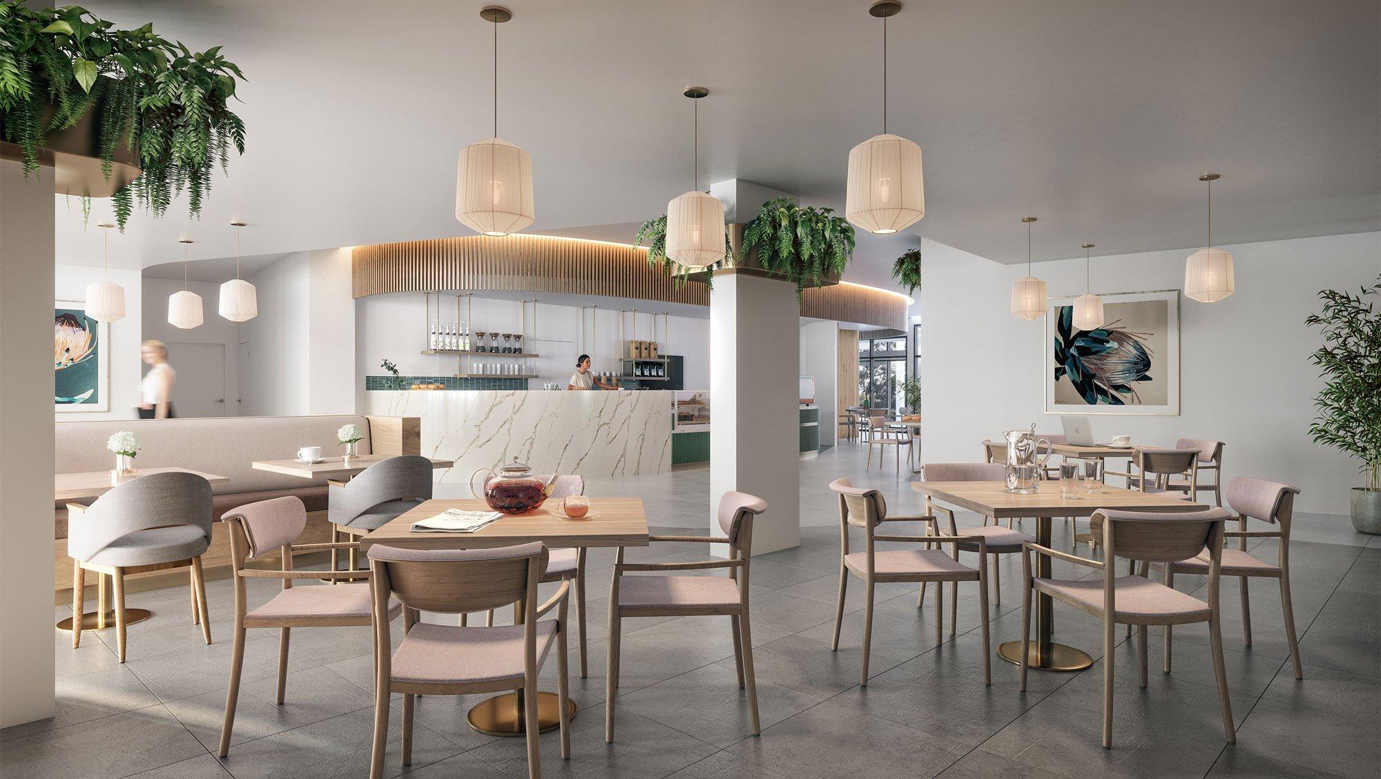 Communal café and dining room at Strathalan Macleod
