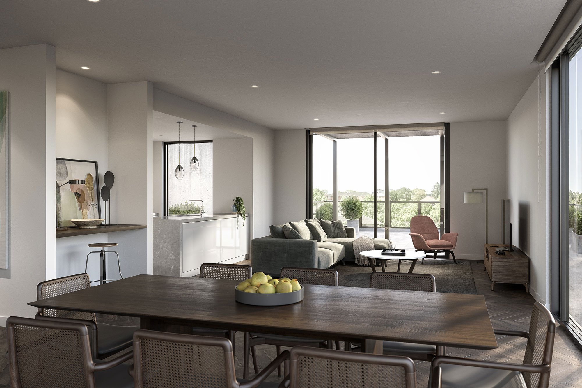 Apartment dining and lounge interior opening up to balcony at Strathalan Macleod.
