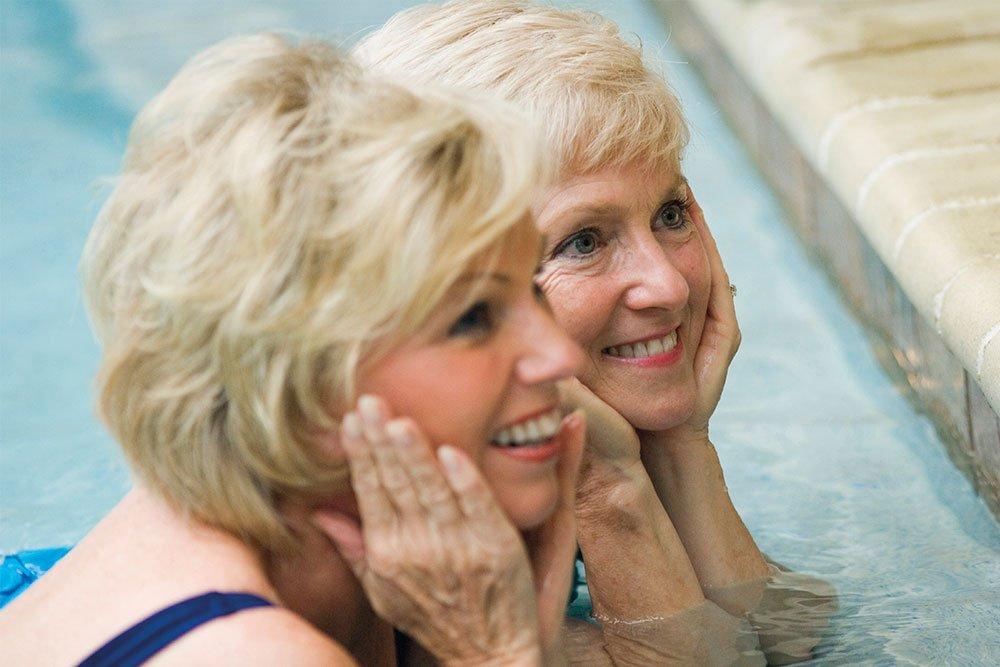 Two senior women in swimming pool at Strathalan Macleod