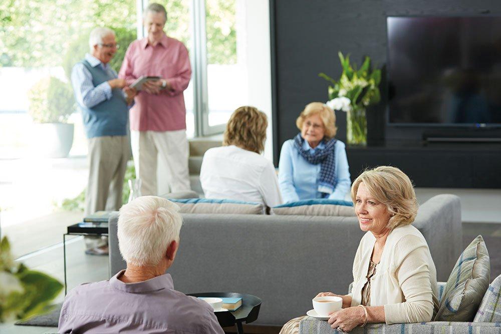 Seniors enjoying shared spaces and community at Strathalan Macleod