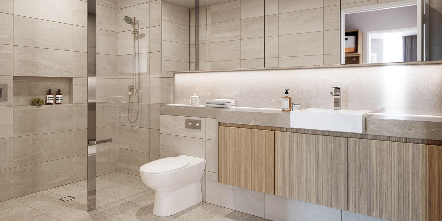 Baptcare, Strathalan (retirement living) - artist impression of bathroom