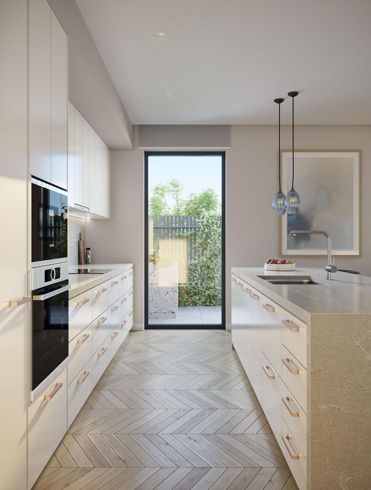 Baptcare, Strathalan (retirement living) - artist impression of Orchards apartments - artist impression of kitchen light colour scheme
