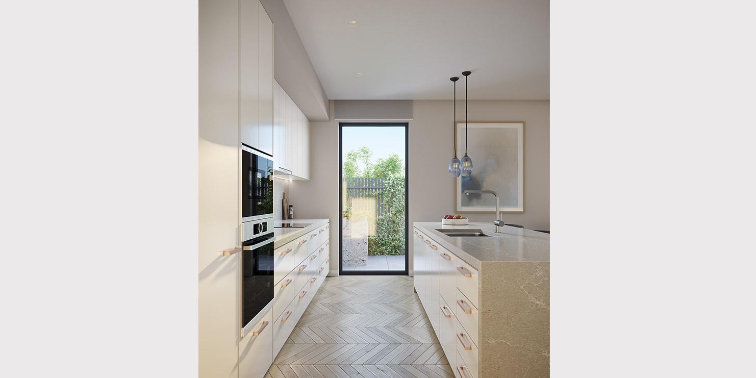 Baptcare, Strathalan (retirement living) - artist impression of kitchen light colour scheme
